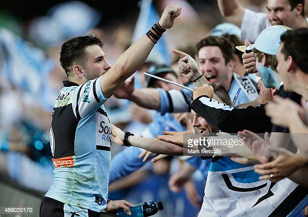 Jack Bird of the Sharks celebrates with fans after victory in the NRL Elimination Final match between the Cronulla Sharks and the South Sydney...