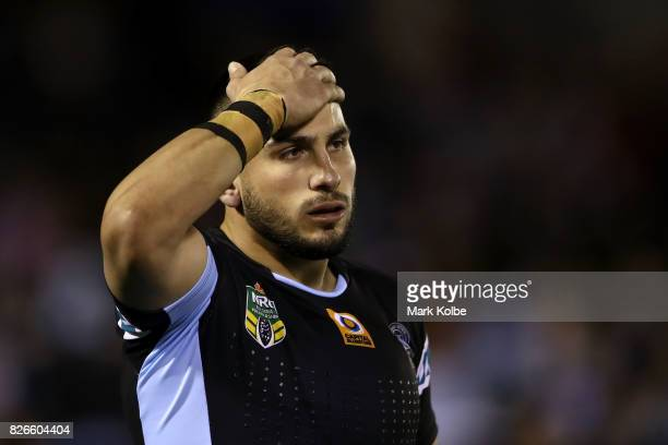 Jack Bird of the Sharks looks dejected during the round 22 NRL match between the Cronulla Sharks and the Canberra Raiders at Southern Cross Group...