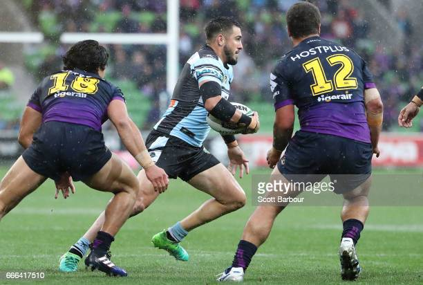 Jack Bird of the Sharks runs with the ball during the round six NRL match between the Melbourne Storm and the Cronulla Sharks at AAMI Park on April 9...