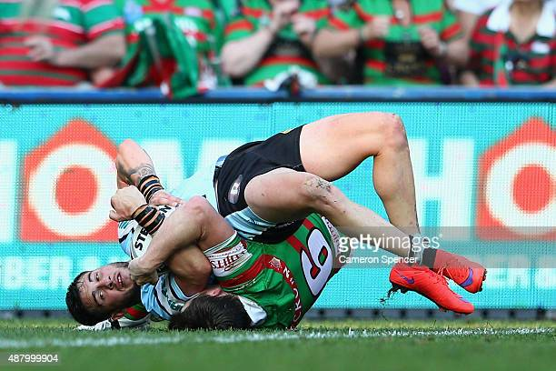 Jack Bird of the Sharks scores a try during the NRL Elimination Final match between the Cronulla Sharks and the South Sydney Rabbitohs at Allianz...