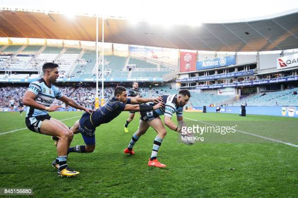 Jack Bird of the Sharks scores a try during the NRL Elimination Final match between the Cronulla Sharks and the North Queensland Cowboys at Allianz...