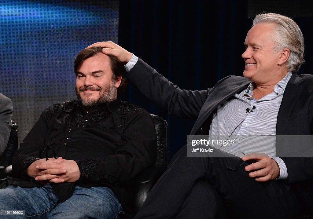 Jack Black, actor/co-executive producer (L), and actor/director/producer Tim Robbins speak onstage during 'The Brink' panel as part of the 2015 HBO Winter Television Critics Association press tour at the Langham Huntington Hotel & Spa on January 8, 2015 in Pasadena, California.