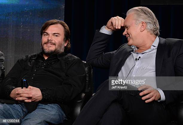 Jack Black actor/coexecutive producer and actor/director/producer Tim Robbins speak onstage during The Brink panel as part of the 2015 HBO Winter...