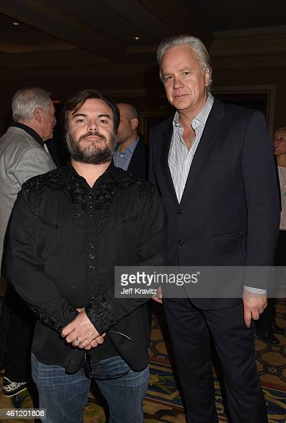 Jack Black actor/coexecutive producer and actor/director/producer Tim Robbins wait in the lobby after The Brink panel as part of the 2015 HBO Winter...
