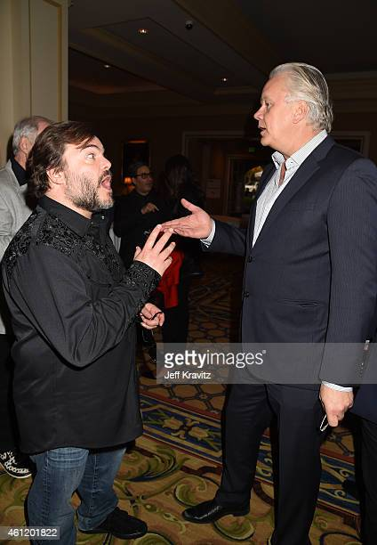 Jack Black actor/coexecutive producer and actor/director/producer Tim Robbins engage in conversation in the hotel lobby after The Brink panel as part...