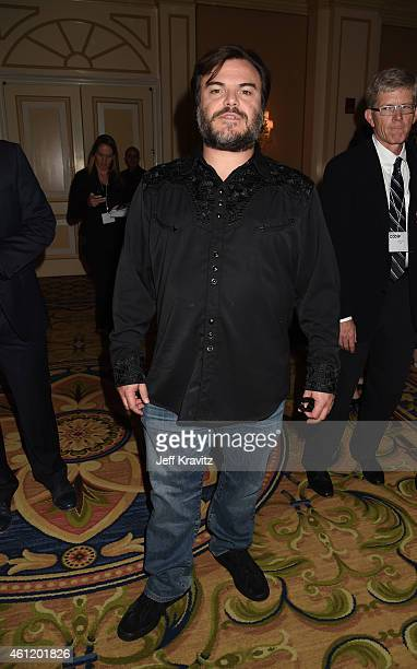 "Jack Black, actor/co-executive producer , waits in the lobby after ""The Brink"" panel as part of the 2015 HBO Winter Television Critics Association..."