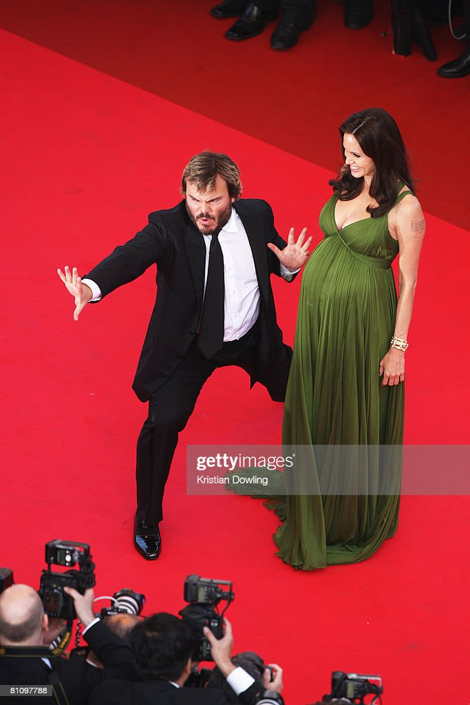 Jack Black and Angelina Jolie arrive at the Kung Fu Panda Premiere at Palais des Festivals during the 61st International Cannes Film Festival on May 15 , 2008 in Cannes, France.
