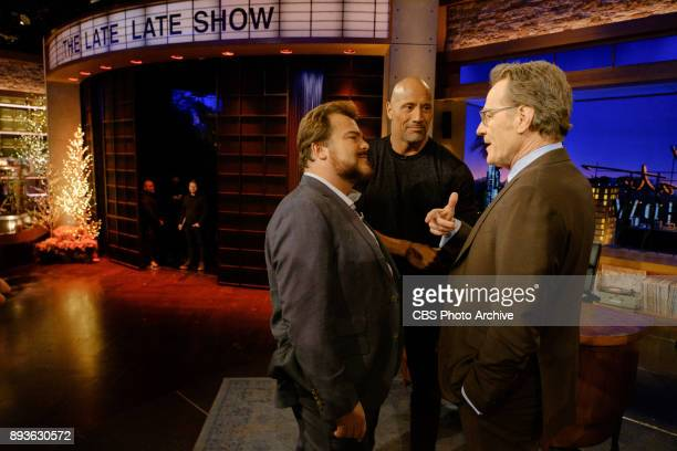 Jack Black and Dwayne Johnson chat with guest host Bryan Cranston during The Late Late Show with James Corden Wednesday December 13 2017 On The CBS...