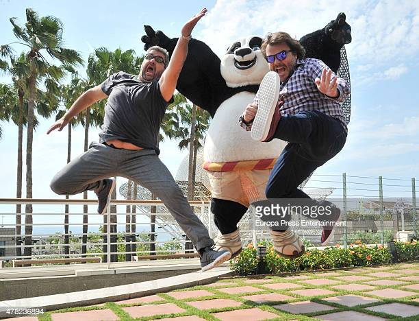Jack Black and Florentino Fernandez attend Kung Fu Panda 3 photocall on June 23 2015 in Barcelona Spain