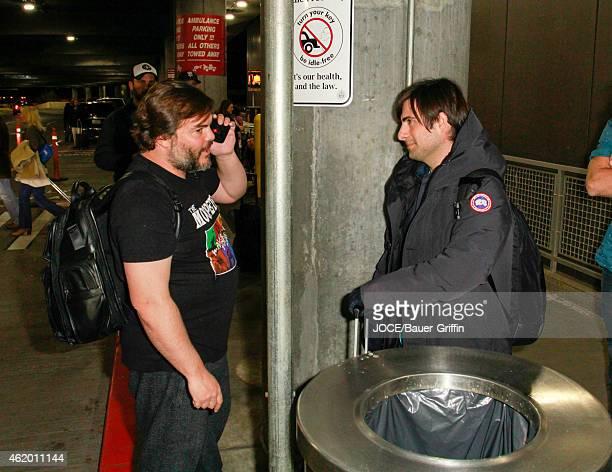 Jack Black and Jason Schwartzman are seen at Salt Lake City Airport on January 22 2015 in Park City Utah