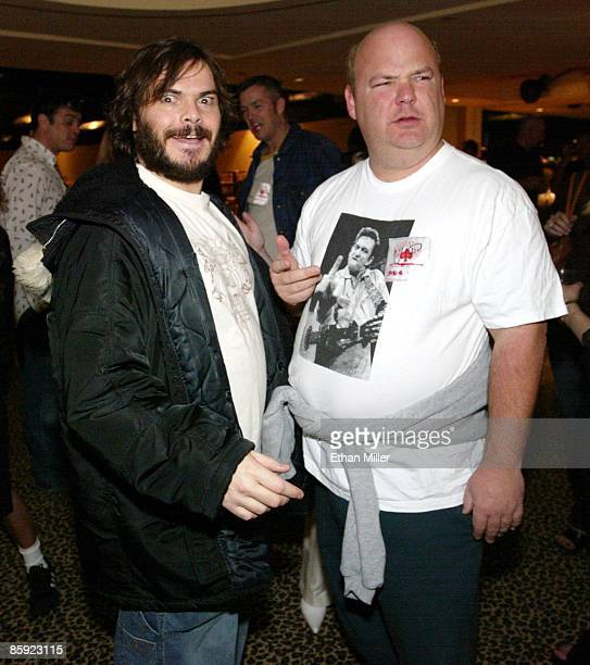Jack Black and Kyle Gass of Tenacious D appear after an Oasis concert at The Joint inside the Hard Rock Hotel Casino April 26 2002 in Las Vegas Nevada