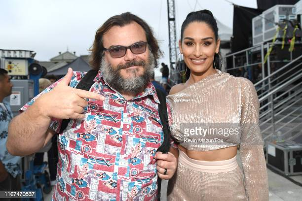 Jack Black and Nikki Bella of The Bella Twins attend FOX's Teen Choice Awards 2019 on August 11, 2019 in Hermosa Beach, California.