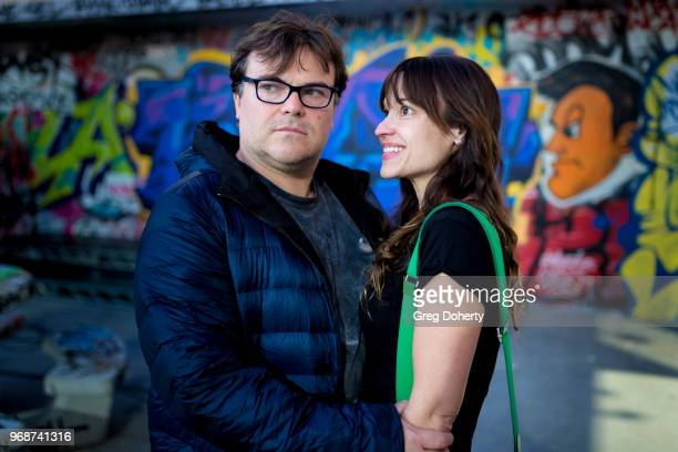 Jack Black and wife Tanya Haden attend the Adidas x Shepard Fairey Footwear Release on June 6 2018 in Los Angeles California