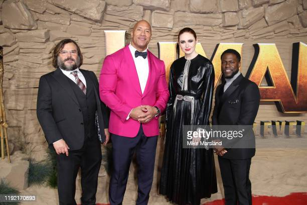 Jack Black Dwayne Johnson Karen Gillan and Kevin Hart attend the Jumanji The Next Level UK Film Premiere at BFI Southbank on December 05 2019 in...
