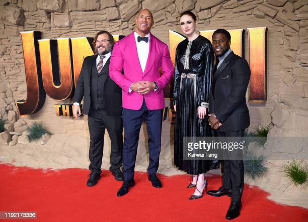 """Jack Black, Dwayne Johnson, Karen Gillan and Kevin Hart attend the """"Jumanji: The Next Level"""" UK Film Premiere at BFI Southbank on December 05, 2019..."""