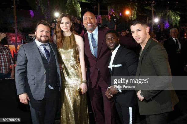 Jack Black Karen Gillan Dwayne Johnson Kevin Hart and Nick Jonas attend the premiere of Columbia Pictures' Jumanji Welcome To The Jungle on December...