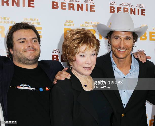 Jack Black Shirley MacLaine and Matthew McConaughey arrive at the Bernie premiere during the 2011 Los Angeles Film Festival held at Regal Cinemas LA...