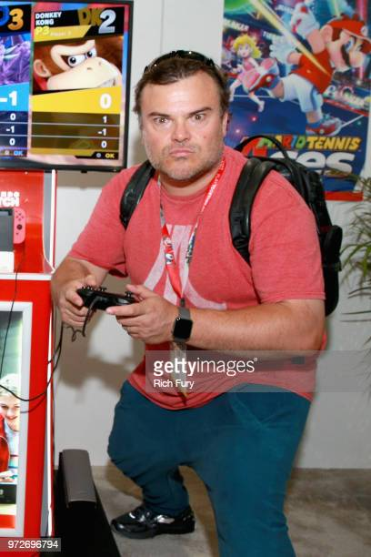 Jack Black visits the Nintendo booth during the 2018 E3 Gaming Convention at Los Angeles Convention Center on June 12 2018 in Los Angeles California