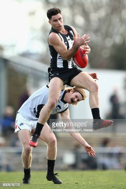 Jack Blair of Collingwood marks during the round 16 VFL match between the Collingwood Magpies and North Ballarat at Victoria Park on August 13 2017...