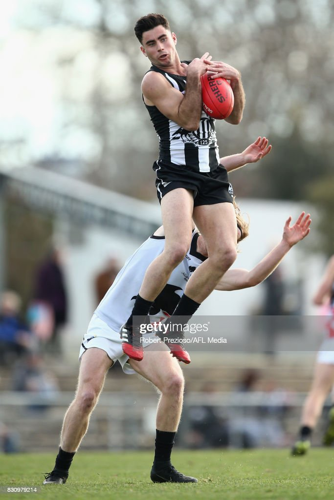 Jack Blair of Collingwood marks during the round 16 VFL match between the Collingwood Magpies and North Ballarat at Victoria Park on August 13, 2017 in Melbourne, Australia.