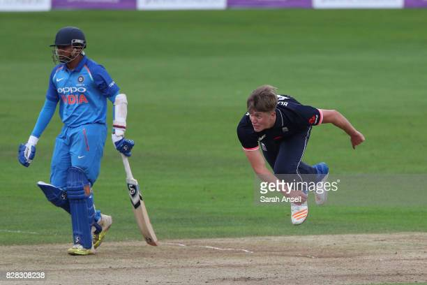 Jack Blatherwick of England U19s bowls as Prithvi Shaw of India U19s backs up during the match between England Under 19s and India U19s at The...