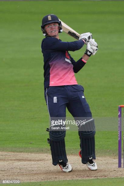 Jack Blatherwick of England U19s hits a boundary during the match between England Under 19s and India U19s at The Spitfire Ground on August 9 2017 in...