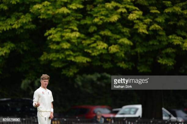 Jack Blatherwick of England U19's looks on during day three of the Second Under 19s Youth Test Series between England and India at New Road on August...
