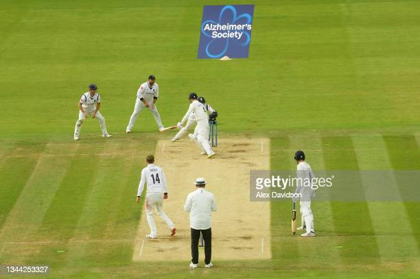 Jack Blatherwick of Lancashire is stumped by Michael Burgess of Warwickshire during Day 4 of the Bob Willis Trophy Final between Warwickshire and...