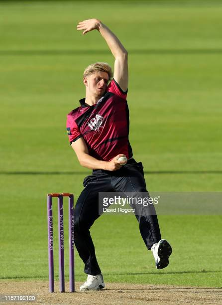 Jack Blatherwick of Northamptonshire bowls during the Tour Match between Northamptonshire and Australia A at The County Ground on June 20 2019 in...