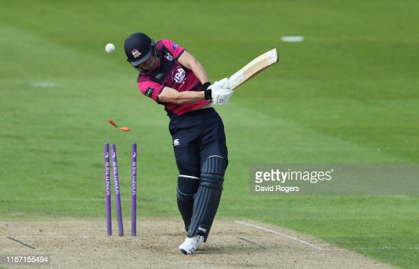 Jack Blatherwick of Northamptonshire is bowled by Josh Hazlewood during the Tour Match between Northamptonshire and Australia A at The County Ground...