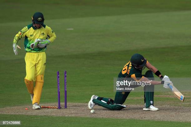 Jack Blatherwick of Nottinghamshire reacts after being bowled during the T20 match between the Cricket Australia Indigenous XI and Nottinghamshire at...