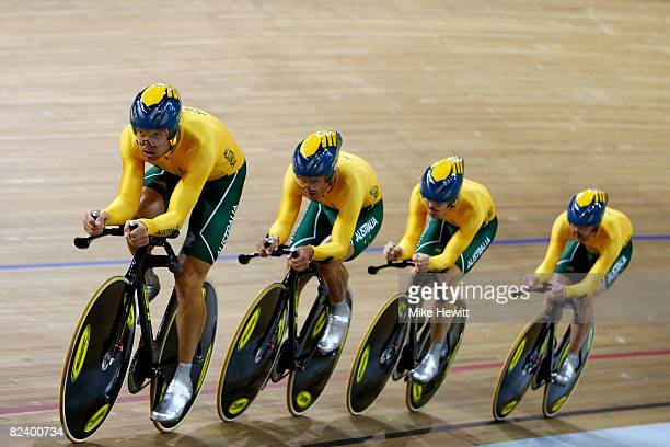 Jack Bobridge Graeme Brown Mark Jamieson and Luke Roberts of Australia compete in the Men's Team Pursuit Finals at the Laoshan Velodrome on Day 10 of...