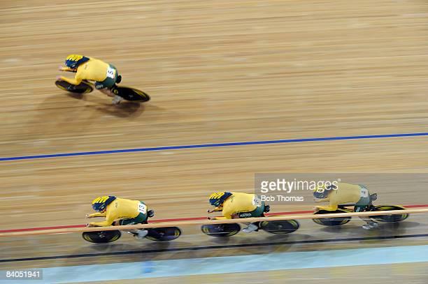 Jack Bobridge, Graeme Brown, Mark Jamieson and Luke Roberts of Australia compete in the Men's Team Pursuit Finals at the Laoshan Velodrome on Day 10...