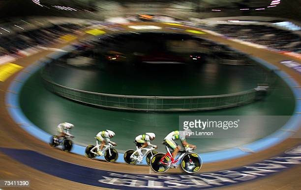 Jack Bobridge, Mitchell Docker, Leigh Howard and Travis Meyer of Australia in action during qualifying for the Team Pursuit at the UCI Track Cycling...