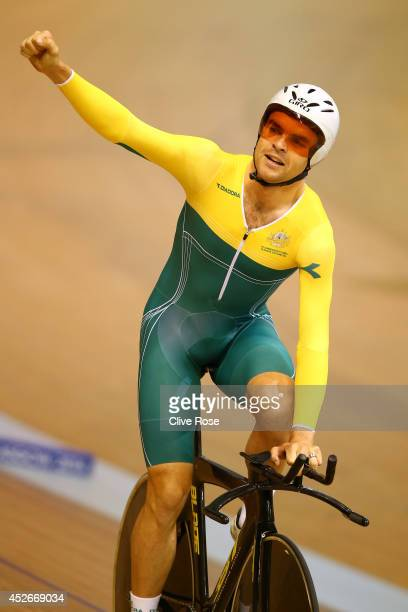 Jack Bobridge of Australia celebrates after winning the Men's 4000m Individual Pursuit Final at the Sir Chris Hoy Velodrome during day two of the...