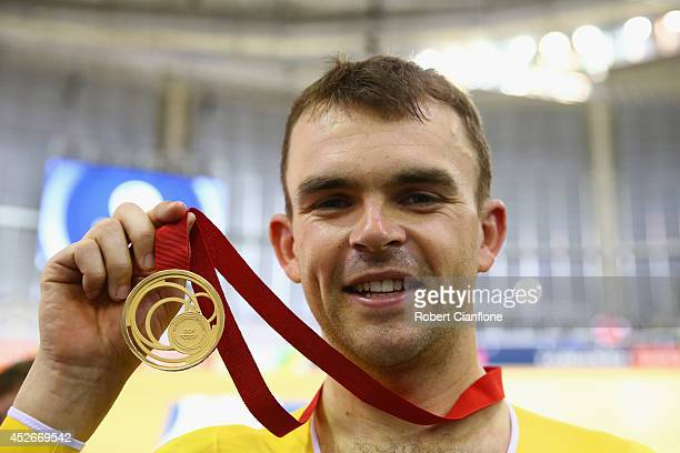 Jack Bobridge of Australia poses with his gold medal during the medal ceremony for the Men's 4000m Individual Pursuit Finals at Sir Chris Hoy...