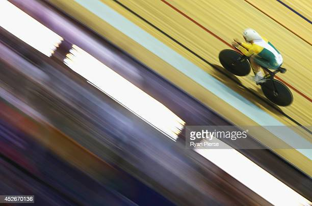 Jack Bobridge of Australia races in the Men's 4000m Individual Pursuit Final at Sir Chris Hoy Velodrome during day two of the Glasgow 2014...