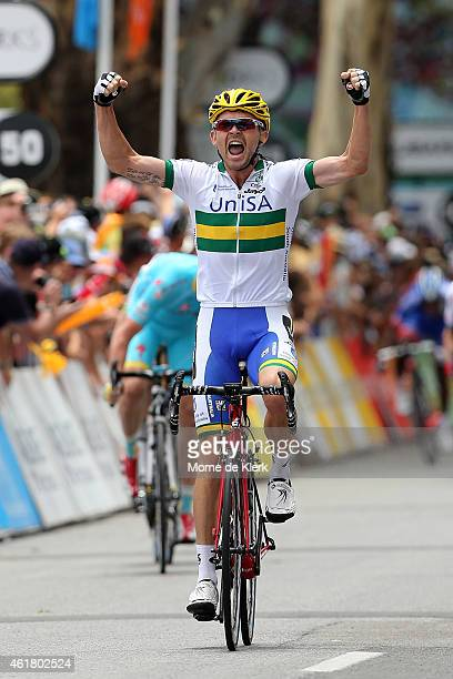 Jack Bobridge of of Australia and team UniSA-Australia celebrates after winning Stage 1 of the 2015 Santos Tour Down Under on January 20, 2015 in...