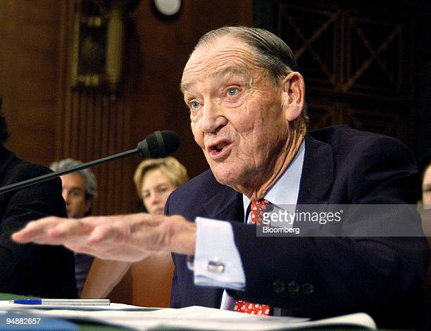 Jack Bogle founder of the Vanguard Group testifies before the Senate Banking Committee in Washington DC on Thursday February 26 2004 Ruder said that...