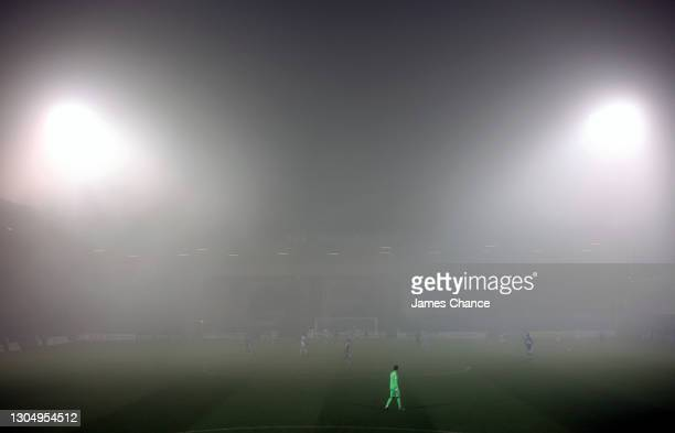 Jack Bonham of Gillingham FC looks on as fog is seen during the Sky Bet League One match between Gillingham and Milton Keynes Dons at MEMS...