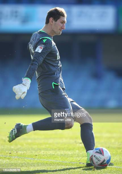 Jack Bonham of Gillingham FC takes a goal kick during the Sky Bet League One match between Portsmouth and Gillingham at Fratton Park on February 27,...