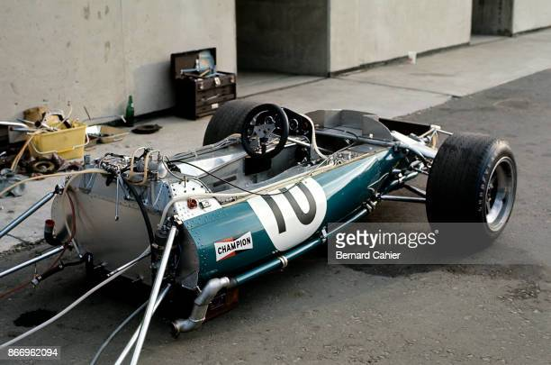 Jack Brabham BrabhamFord BT33 Grand Prix of Austria Osterreichring 16 August 1970 Jack Brabham's car waiting to be fitted with a new engine