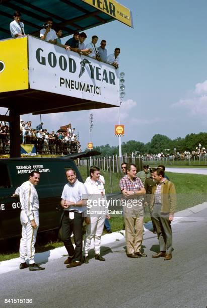 Jack Brabham Denny Hulme Chris Irwin Ludovico Scarfiotti Bruce McLaren Grand Prix of Italy Monza 10 September 1967 Track inspection by Jack Brabham...