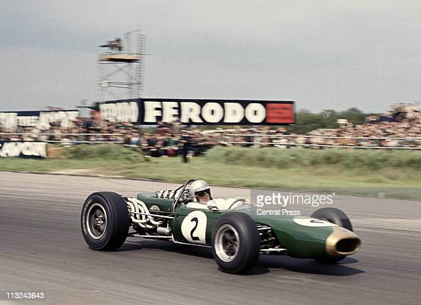 Jack Brabham drives the Brabham Racing Organisation Brabham BT19 Repco 30 V8 during the XVIII BRDC International Trophy Race on 14th May 1966 at the...