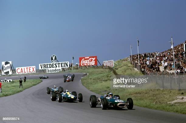Jack Brabham, Jim Clark, Denny Hulme, Brabham-Repco BT19, Lotus-Climax 33, Brabham-Repco BT20, Grand Prix of the Netherlands, Circuit Park Zandvoort,...