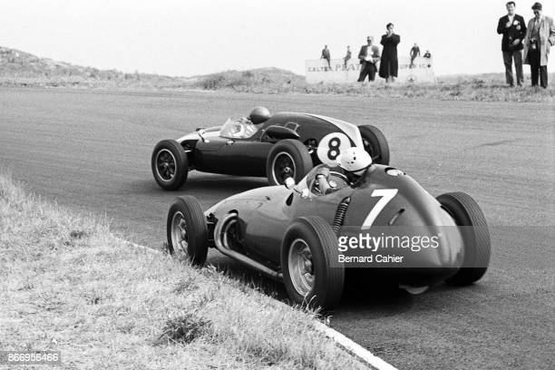 Jack Brabham Jo Bonnier CooperClimax T51 BRM P25 Grand Prix of the Netherlands Circuit Park Zandvoort 31 May 1959 Jack Brabham ahead of future winner...