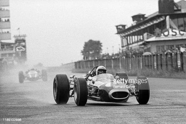 Jack Brabham, John Surtees, Brabham-Repco BT20, Cooper-Maserati T81, Grand Prix of Germany, Nurburgring, 07 August 1966. Jack Brabham leading John...