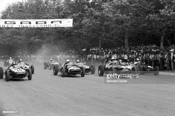 Jack Brabham Maurice Trintignant Jo Bonnier CooperClimax T51 BRM P25 Grand Prix of Buenos Aires Parque Sarmiento Cordoba Province 14 February 1960...