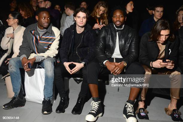 Jack Brett Anderson and Hector Bellerin and guests on the front row at the Bobby Abley show during London Fashion Week Men's January 2018 at BFC Show...