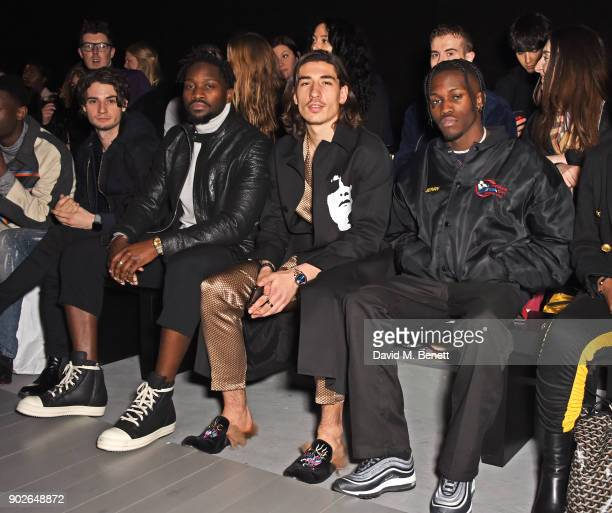 Jack Brett Anderson guest Hector Bellerin and Shamel Kendrick attend the Bobby Abley show during London Fashion Week Men's January 2018 at BFC Show...